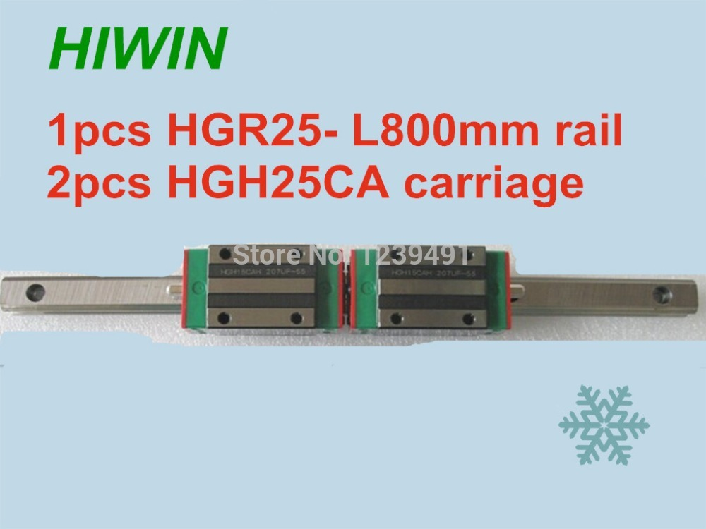 1pcs HIWIN linear guide HGR25 -L800mm with 2pcs linear carriage HGH25CA CNC parts free shipping to argentina 2 pcs hgr25 3000mm and hgw25c 4pcs hiwin from taiwan linear guide rail