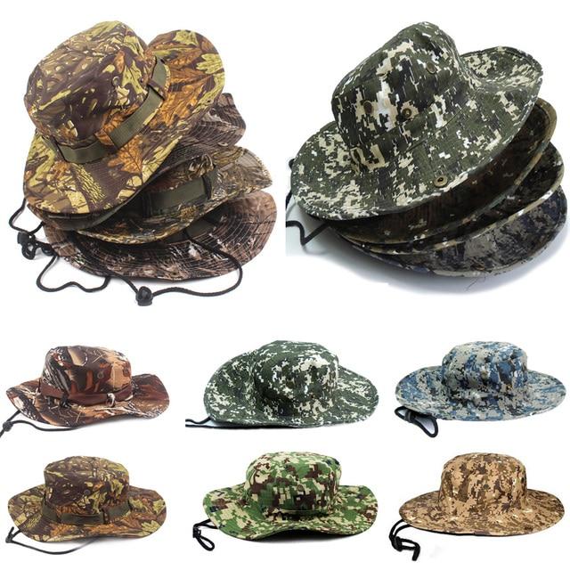 Para hombre del Camuflaje de Camo Army Combat Sombrero de Cazador Pesca de  Algodón Militar Boonie d0d2a6d07659