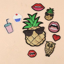 DOUBLEHEE Sequins Pineapple Patch Embroidered Iron On Patches For Clothing The Embroidery Design diy Phone Bag Accessories