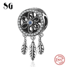 SG 925 Sterling Silver Charms Antique Dream catcher Beads Fit pandora bracelets fashion diy Jewelry making for women gifts sg new arrival 925 sterling silver charms dream catcher beads with cz fit pandora bracelets diy jewelry making for women gifts