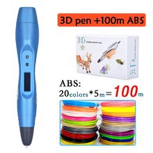 2017 arrive 3D pen with 20 colors 100 meter ABS filament 3D printing pen with oled display screen kids creative DIY drawing tool