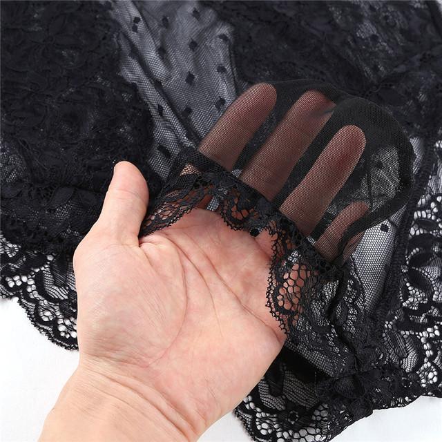 iEFiEL Mens Crossdress Lingerie Sissy Floral Lace Polka Dots Bodysuit Jumpsuit Nightwear Sleepwear See Through Mesh Underwear