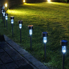 10pcslot outdoor light solar panel spike plastic spot street lamp landscape garden yard path lawn solar lamps led white lights