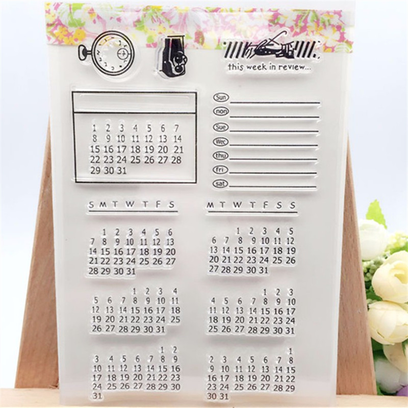 Perpetual Calendar Transparent Clear Stamp DIY Silicone Seals Scrapbooking/Card Making/Photo Album Decoration Accessories loving heart and ballon transparent clear stamp diy silicone seals scrapbooking card making photo album craft cl 285