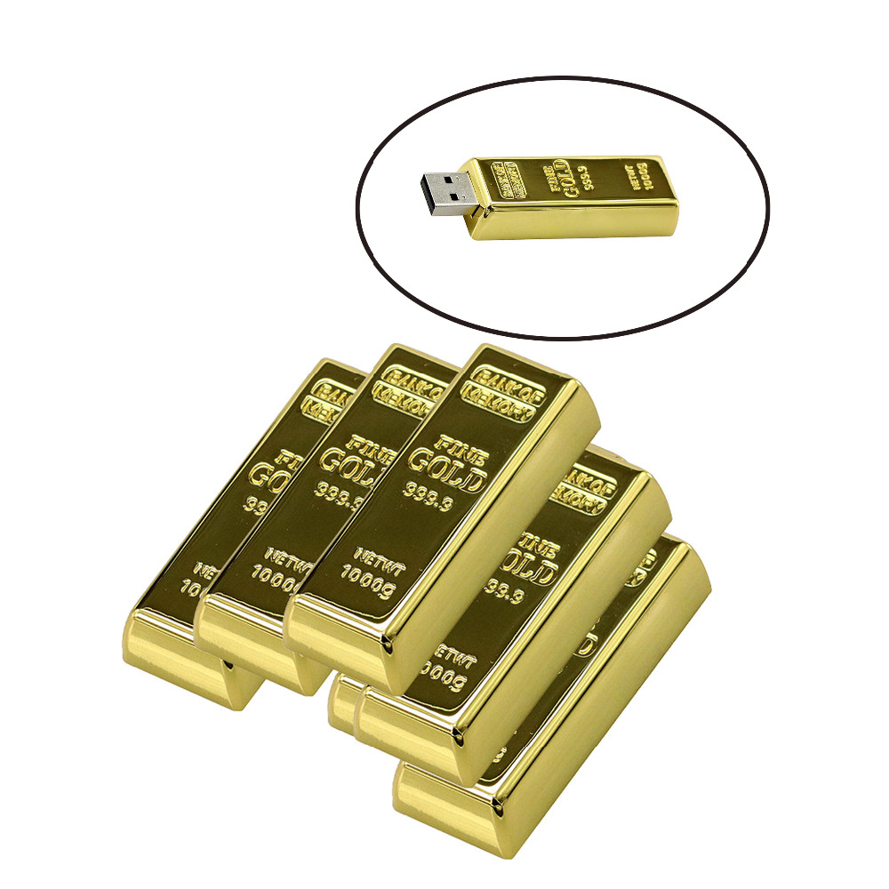 Fashion Bullion Gold Bar USB Flash Drive Pen Drive Flash Memory Stick Flash Drives 64G 32GB 16GB 8GB 4GB Pendrive Memory Storage