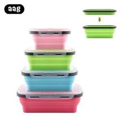 4 sztuk składany silikonowy pojemnik na drugie śniadanie przenośna miska pojemnik do przechowywania żywności ekologiczny piknik na świeżym powietrzu Camping żywności owoców Bento Box