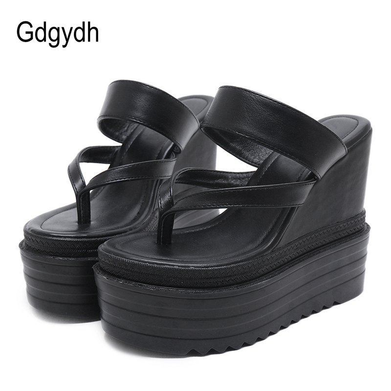 Gdgydh Wholesale Wedges Sandals Summer Platform Women Shoes Office Black Slip On Fashion Women Sandals Leather Party Shoes designer women sandals summer creepers platform shoes peep wedges genuine leather slip on chaussure femme