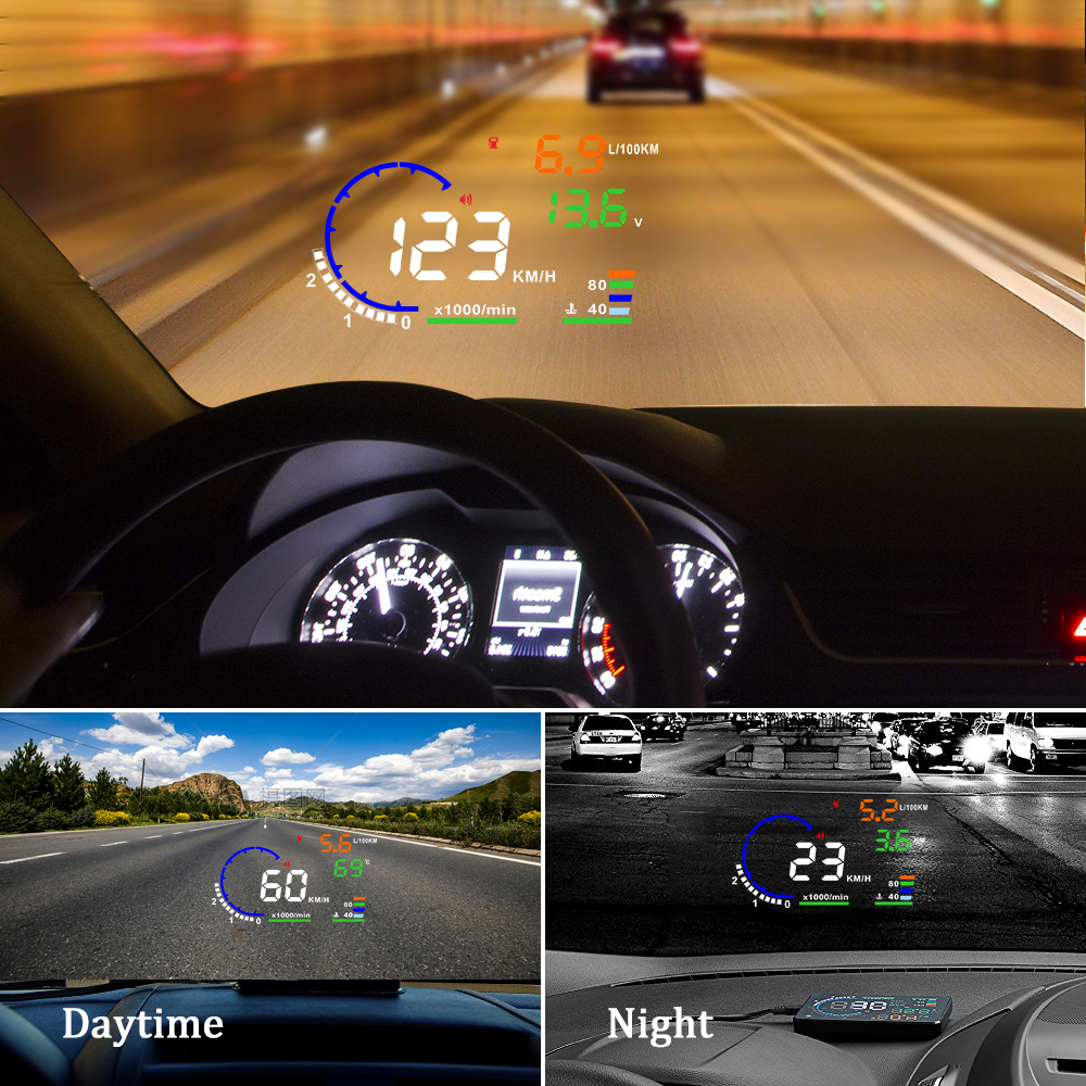 Image 2 - Genuine OBDHUD A8 5.5In HeadUp Display Car Windshield Projector OBDII Speed Warning Fuel Consumption Automobile Car Alarm System-in Head-up Display from Automobiles & Motorcycles