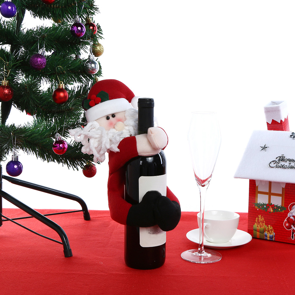 Christmas wine bottle cover snowman santa claus doll for New home christmas decoration
