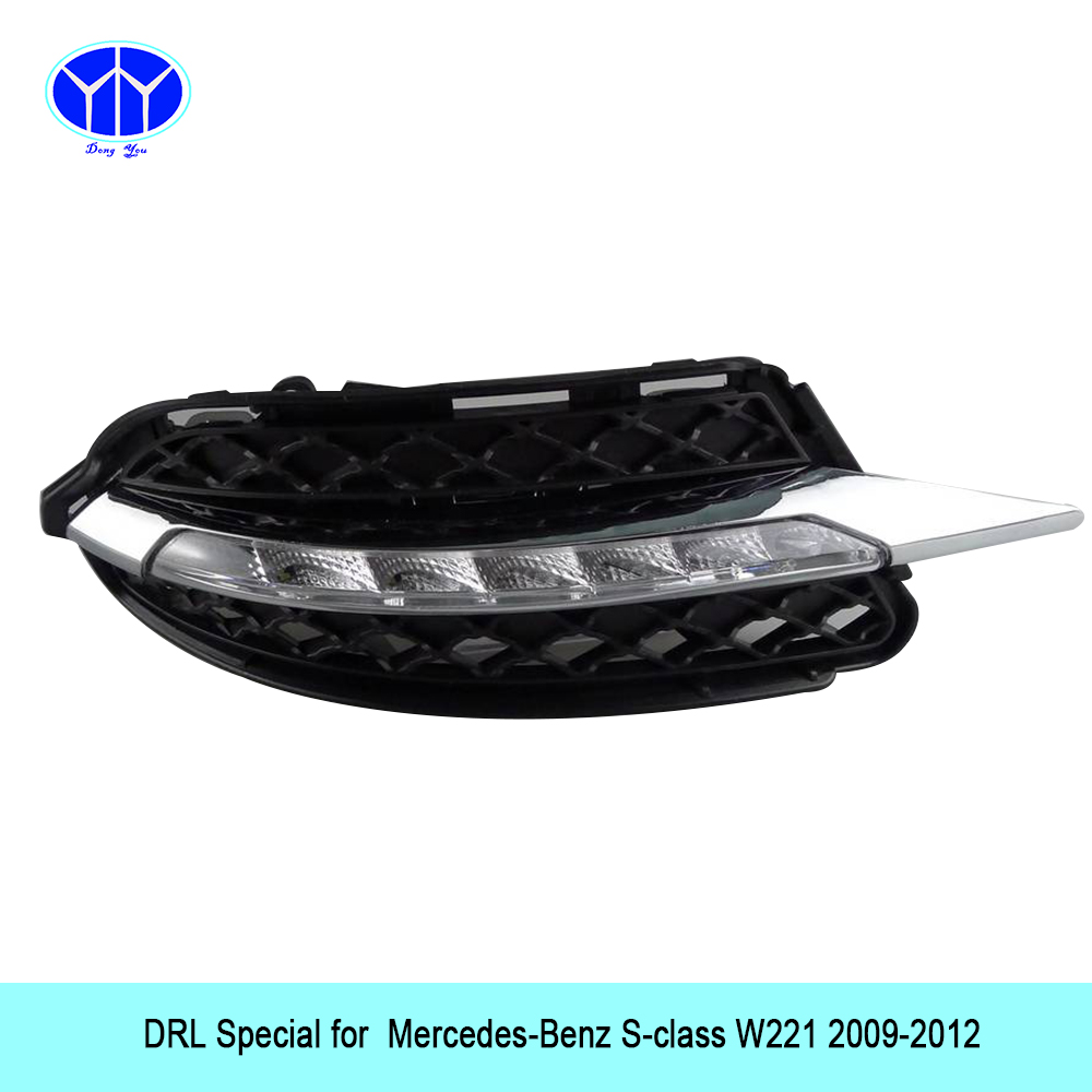 Car DRL Kit for Mercedes-Benz S-class W221 LED Daytime Running Light Bar super bright auto fog lamp daylight car led drl light car accessory steel exhaust cover outputs tail frame trim for mercedes benz s class w222 coupe s class amg auto parts 2010 2017
