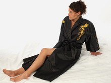 8e8bfda87 High Quality Chinese Style Women's Black Kimono Robe/Gown Embroider Dragon  Sleepwe S M L XL 2XL