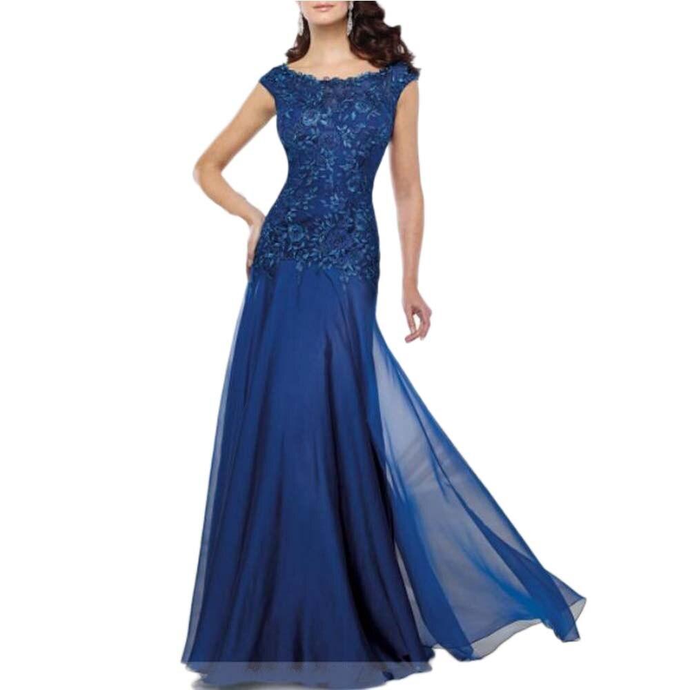 Navy Blue Mother Of The Bride Dress Plus Size Chiffon Wedding Party Gowns Vestido De Madrinha Robe Mere De Mariee
