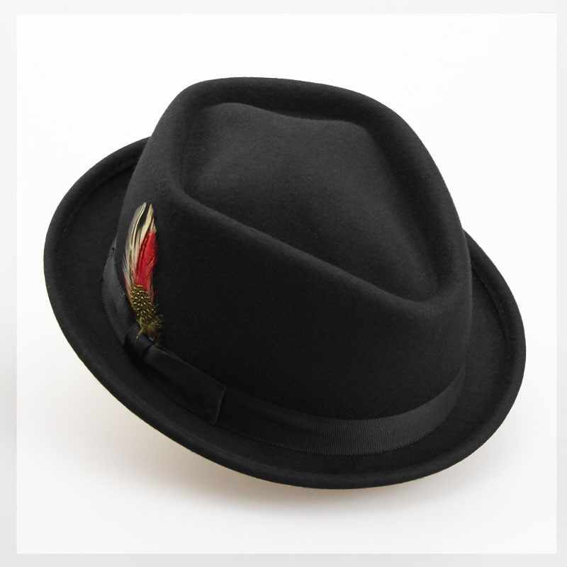 d9519382b75 100% Australian Wool Men s Women s Fedora Hat For Gentleman Dad Jazz Church  Cap Lady Diamond