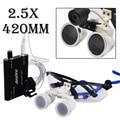 Preto 2.5X420mm Dental Lupas Dentista Vidros Ópticos com LED Head Light Médico Cirúrgica Lupas Binoculares