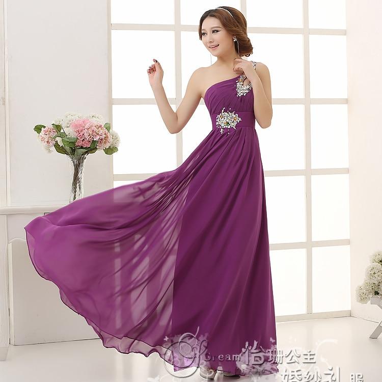 New Fashion One Shoulder Purple Beading Chiffon Long Bridesmaid ...