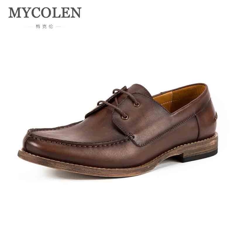 MYCOLEN Brand Formal Shoes Genuine Leather Luxury Brand Top Fashion Men'S Dress Shoes Black Shoes New Business Office Shoes Men