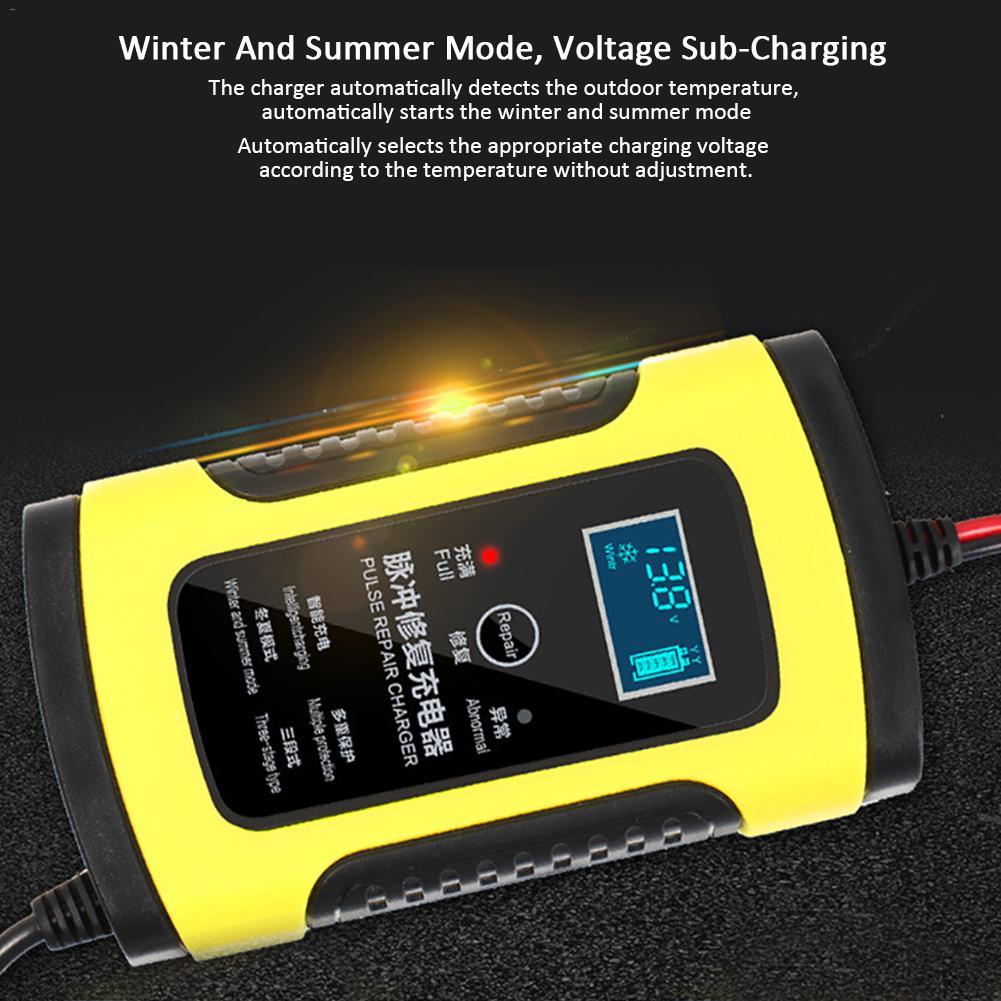 Cargador de batería de coche de motocicleta 12 V 6A reparación totalmente inteligente cargador de almacenamiento de plomo y ácido Moto inteligente pantalla LCD