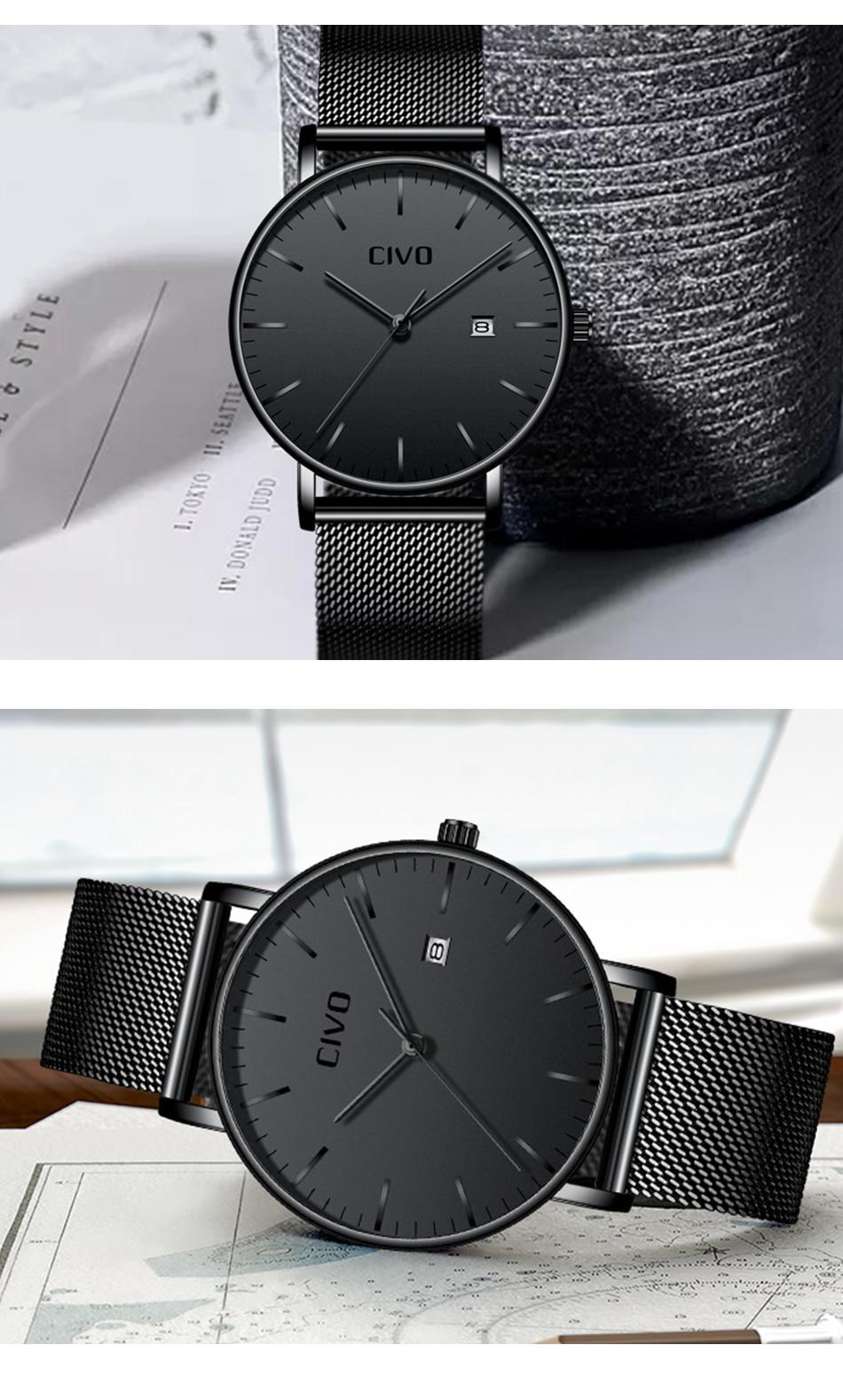 CIVO Men Watch Ultra Thin Minimalist Waterproof Date Wrist Watch For Men Black Genuine Leather Business Fashion Watch Men Clock 14