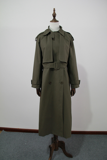 UK Brand new Fashion 2021 Fall /Autumn Casual Double breasted Simple Classic Long Trench coat with belt Chic Female windbreaker 4
