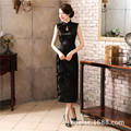 New Arrival Black Chinese Traditional Dress Women Satin Polyester Cheongsam Long Dripping Qipao Top Size S M L XL XXL XXXL