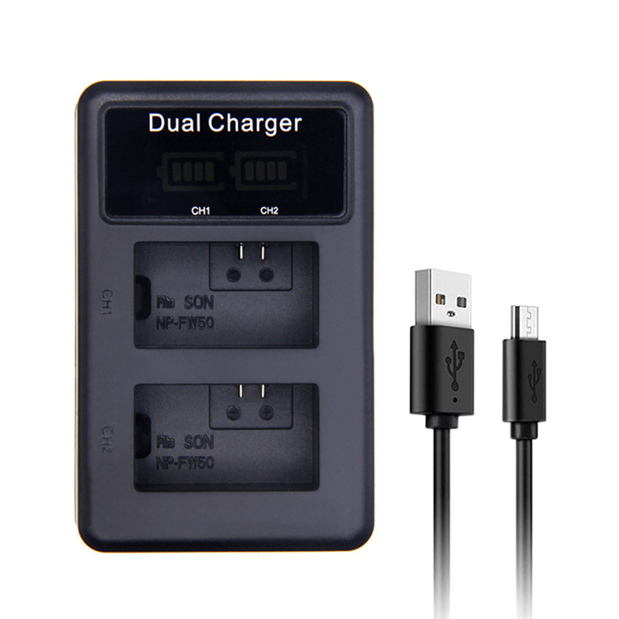 SANGER NP-FW50 LED USB Dual Charger for <font><b>Sony</b></font> <font><b>Alpha</b></font> NEX F3 6 5 5N 5R 5T 3N SLT A33 A37 A55 A3000/<font><b>3500</b></font> A5000/5100 Camera Battery image