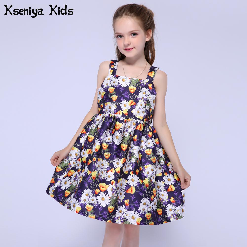 Kseniya Kids 2017 Girls Summer Clothes Dresses Toddler Baby Girl Clothing Princess Dress Flower Party Dress For Girls 2-14 Year new baby princess infant wedding dress girl for girls children clothing dresses summer toddler kids girl party for girls clothes