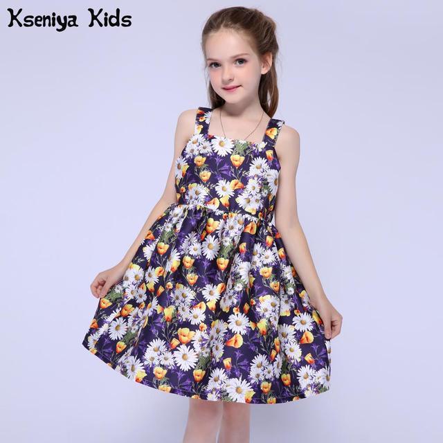 Kseniya Kids 2017 Girls Summer Clothes Dresses Toddler Baby Girl Clothing Princess Dress Flower Party Dress For Girls 2-14 Year