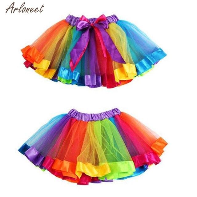 2018 bé gái váy mùa hè Váy Lót Cầu Vồng Pettiskirt Bowknot Váy Tutu Dancewear JAN26