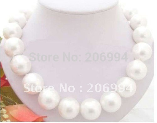 Wholesales rare huge 20mm white shell pearl necklace fashion jewellery free shippingWholesales rare huge 20mm white shell pearl necklace fashion jewellery free shipping