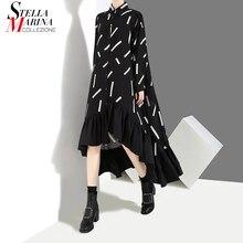 Женское весеннее черное платье-рубашка большого размера, свободные женские платья с длинным рукавом с геометрическим принтом, оборками и подрубочным швом для вечеринки, одежда для клуба, 3907