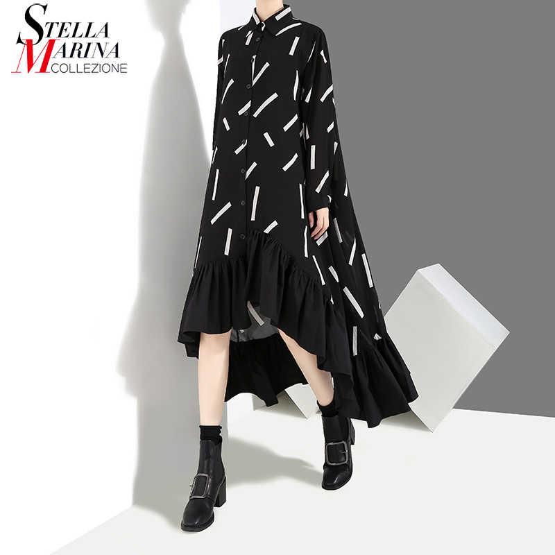 新 2019 女性秋冬ロング黒スタイリッシュなシャツドレスストライプフリル長袖の女性のエレガントなパーティードレスローブ 3907