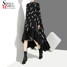 New 2018 Autumn Women Plus Size Black Shirt Dress Geometrical Pattern Full Sleeve Loose Asymmetrical Party Dresses Clubwear 3907