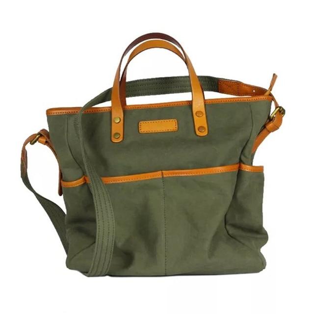 1aac94d5df49 Japan Unisex Three-way Designer Ladies Girls Canvas Street Totes Handbag  Genuine Leather Women Men