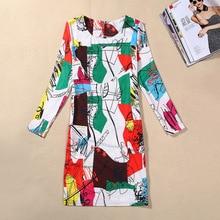 Plus Size Women Clothing 2018 Spring Fall Fashion Flower Print Women Dress Ladies Long Sleeve Casual Autumn Dresses Vestidos