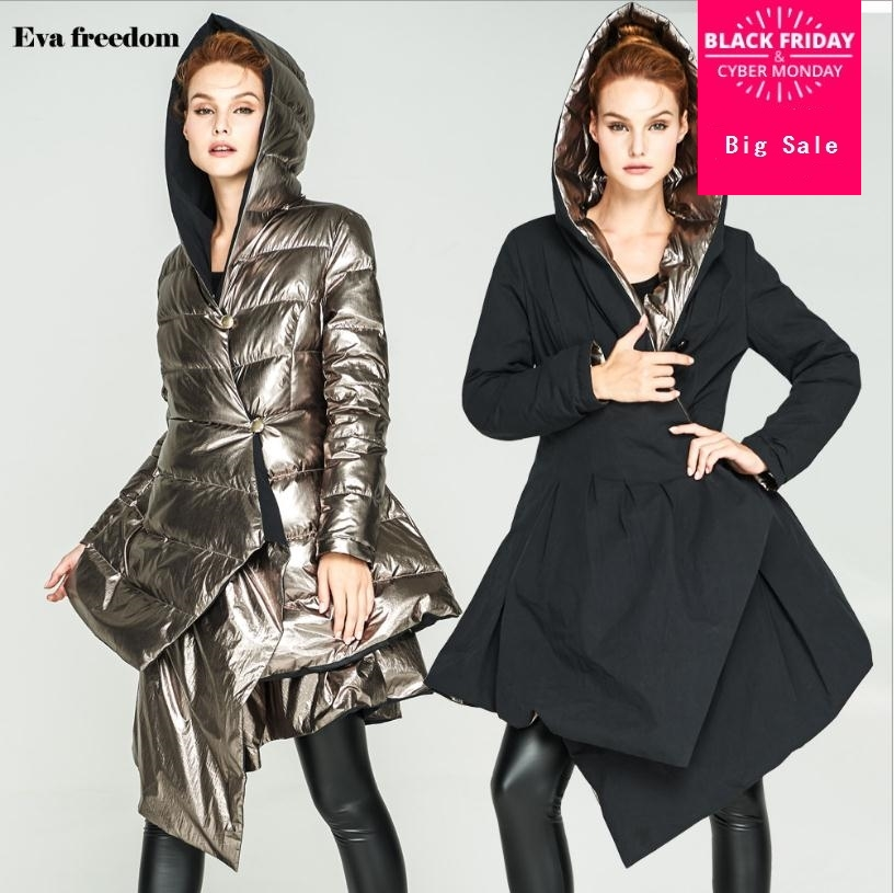 M-2XL 90% duck   down     coat   fashion brand hooded Asymmetric length   down   jacket women Both sides wear Slim thicker warm   coat   wj1350