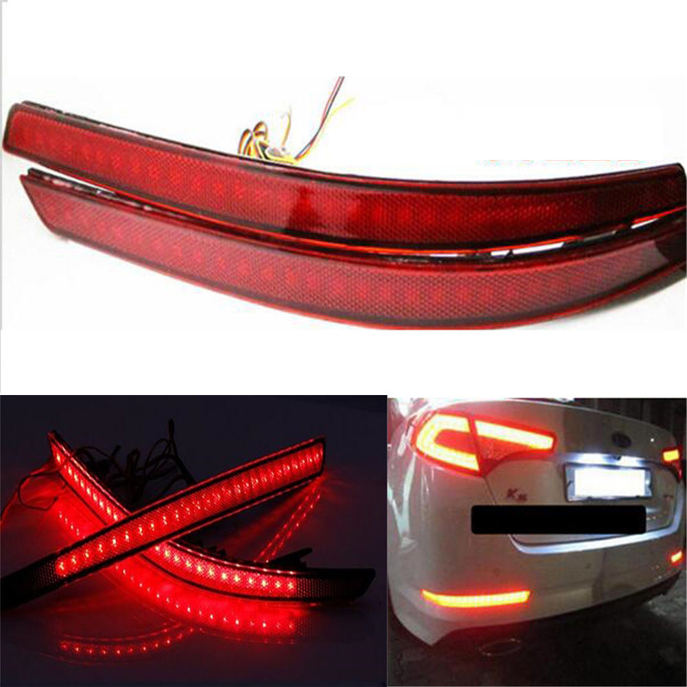 castaleca 1pair LED Rear Bumper Reflector Brake Turn Signal Light Automobiles Tail Light Dayting Running lamp For K5 2011-2013 dongzhen fit for nissan bluebird sylphy almera led red rear bumper reflectors light night running brake warning lights lamp