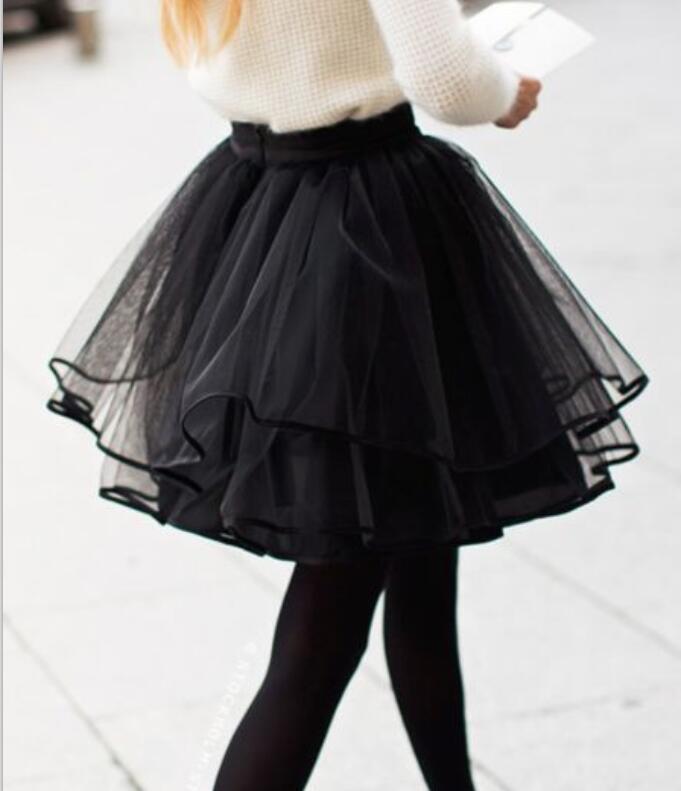 Fashion Women Black Sexy Short Tutu Tulle Skirt Puffy Short Skirt Party Fashion Elegant Skirts Mini Plus Size Skirt