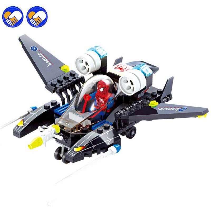 112pcs Compatible Legoinglys Super Hero Spider Man Airplane Building Blocks Toy Kit DIY Educational Children Christmas Gifts