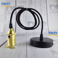 Zipper Chain Switch Brass Socket Lighting Fixture Vintage E27 DIY Hanging Lamp Copper Material High Quality