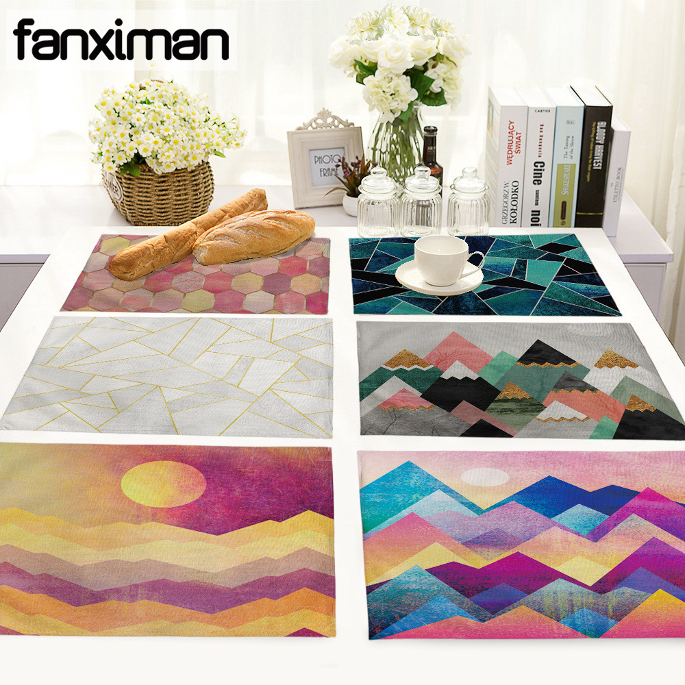 Us 1 99 20 Off Geometry Pattern Coffee Table Mat Colorful Printing Cloth Napkin Linen Cotton Placemats Kitchen Decoration Tea Towels In Mats Pads