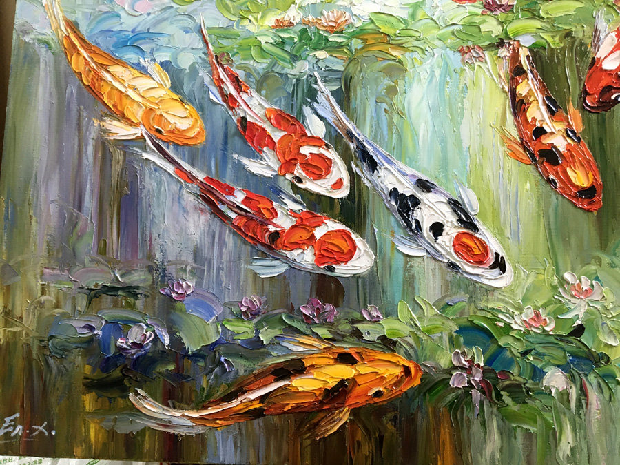 Handmade original large abstract modern palette knife oil animalsa a group red goldfish in the river swimming living room decor