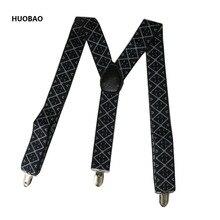 Новые модные мужские подтяжки 3,5*100 см регулируемые 3 зажимы подтяжек сверхмощные геометрические узоры подтяжки для мужчин s