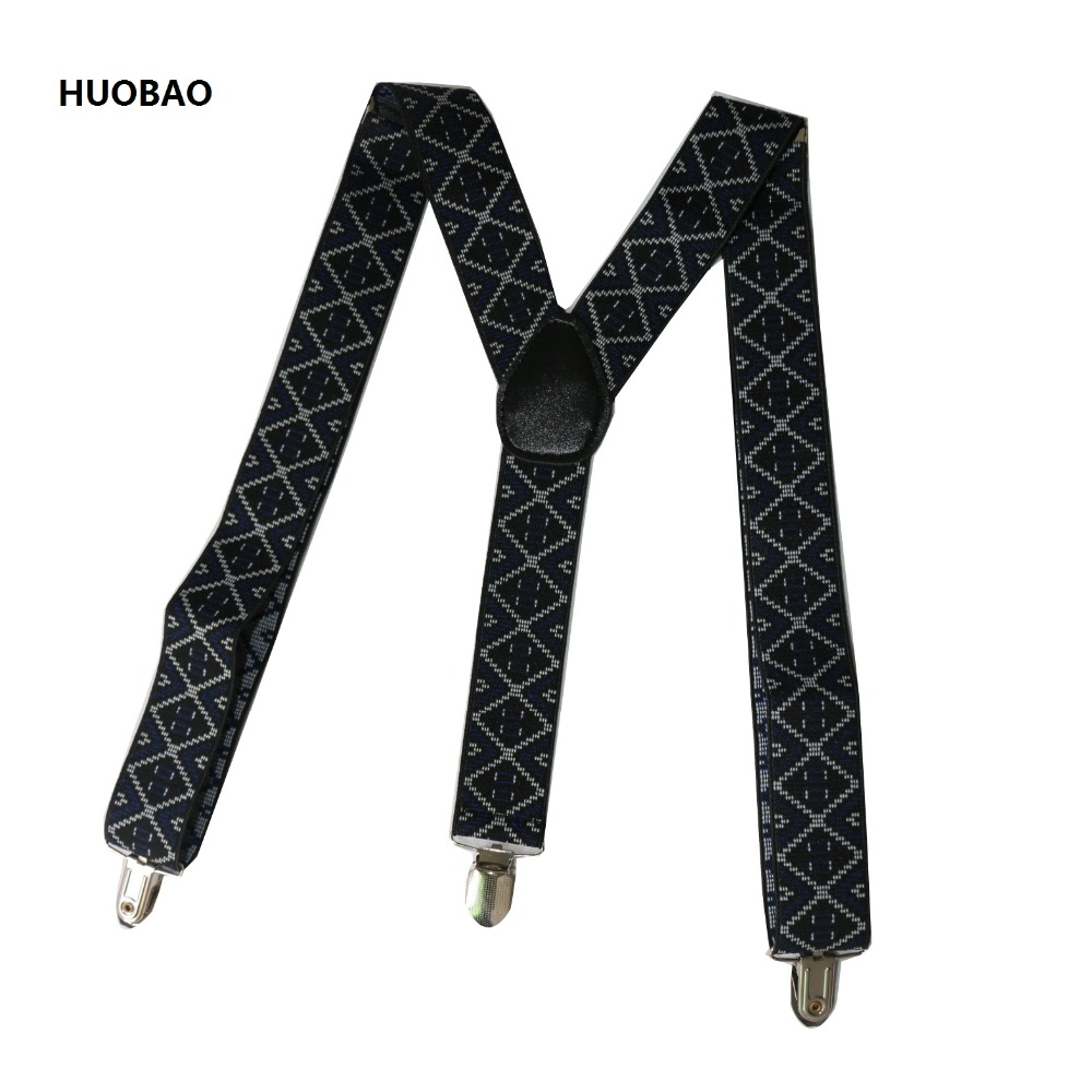 2019 New Fashion Men Suspenders 3.5*100cm Adjustable 3 Clips Braces Heavy Duty Geometric Patterns Suspenders For Mens