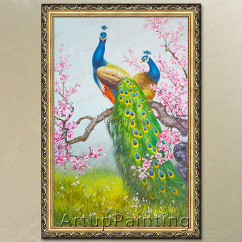 100% handpainted Peacock Oil painting on Canvas Hand painted Big Size wall art pictures