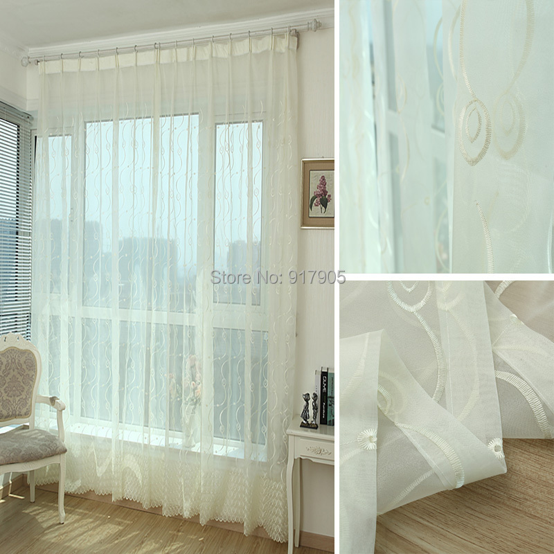 Elegant Custom Made Off White Volie Embroidered Sheer Curtains For Living  Room Modern Tull Curtains Fashion ... Part 41