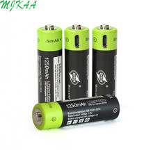 ZNTER 4Pcs AA Rechargeable Battery 1.5V 2A 1250mAh USB Charging Lithium Bateria with Micro Cable