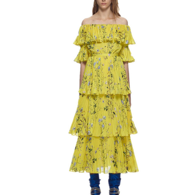 549ef0456 Self Portrait Summer Boho Dress 2019 Floral Print Pleated Women Chiffon Dress  Off Shoulder Ruffle Yellow Bohemian Long Dress