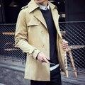 Winter Men's Cotton Jacket Brand Clothing Men Solid Color Windbreaker Wear Homme Men's Long Coat