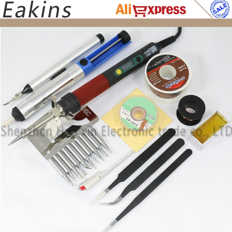 Professional electric soldering iron repair kit CXG DS90T 220V 90W Adjustable thermostat electric iron +11 kinds Accessory cxg ds90t 90w soldering iron high quality heat soldering stand welding electric soldering iron tip suction tin pump toolkit