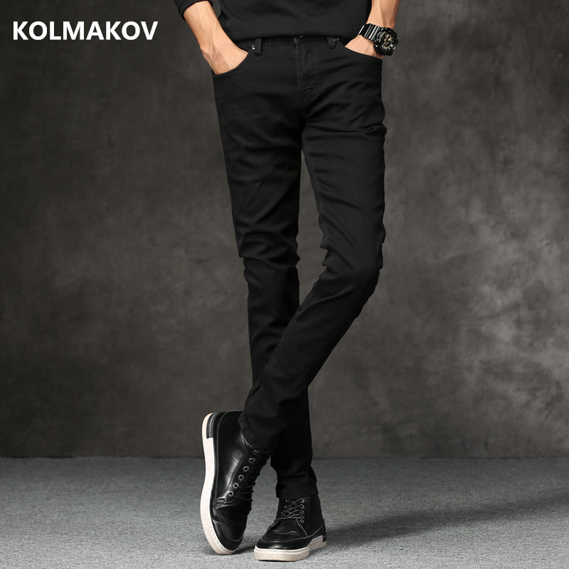 2018 Spring New men Jeans Black Classic Fashion Designer Denim Skinny Jeans men's casual High Quality Slim Fit Trousers new fashion women casual high waisted casual holes skinny jeans